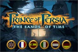 Title screen of Prince of Persia: The Sands of Time on the Nintendo Game Boy Advance.