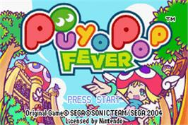 Title screen of Puyo Pop Fever on the Nintendo Game Boy Advance.