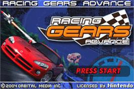 Title screen of Racing Gears Advance on the Nintendo Game Boy Advance.