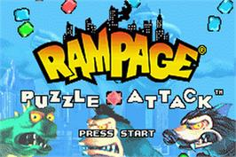 Title screen of Rampage Puzzle Attack on the Nintendo Game Boy Advance.