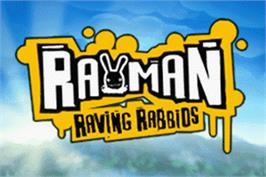 Title screen of Rayman Raving Rabbids on the Nintendo Game Boy Advance.
