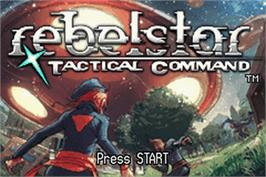 Title screen of Rebelstar: Tactical Command on the Nintendo Game Boy Advance.