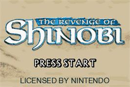 Title screen of Revenge of Shinobi, The on the Nintendo Game Boy Advance.