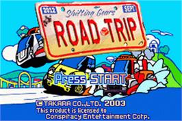 Title screen of Road Trip: Shifting Gears on the Nintendo Game Boy Advance.
