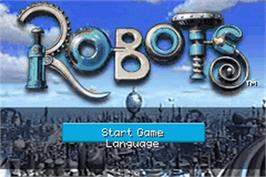 Title screen of Robots on the Nintendo Game Boy Advance.