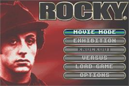 Title screen of Rocky on the Nintendo Game Boy Advance.