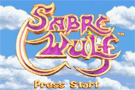 Title screen of Sabre Wulf on the Nintendo Game Boy Advance.