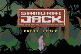 Title screen of Samurai Jack: The Amulet of Time on the Nintendo Game Boy Advance.