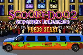 Title screen of Scooby Doo 2: Monsters Unleashed on the Nintendo Game Boy Advance.