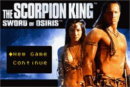 Title screen of Scorpion King: Sword of Osiris on the Nintendo Game Boy Advance.