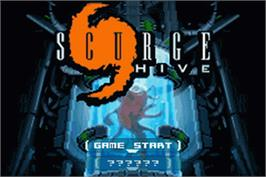Title screen of Scurge: Hive on the Nintendo Game Boy Advance.