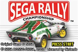 Title screen of Sega Rally Championship on the Nintendo Game Boy Advance.