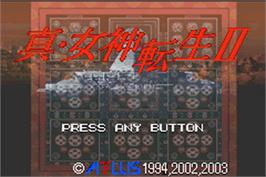 Title screen of Shin Megami Tensei 2 on the Nintendo Game Boy Advance.