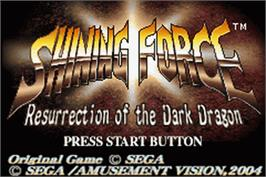 Title screen of Shining Force: Resurrection of the Dark Dragon on the Nintendo Game Boy Advance.