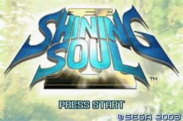Title screen of Shining Soul 2 on the Nintendo Game Boy Advance.