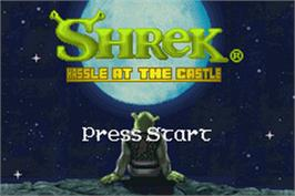 Title screen of Shrek: Hassle at the Castle on the Nintendo Game Boy Advance.