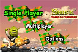Title screen of Shrek: Swamp Kart Speedway on the Nintendo Game Boy Advance.