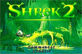 Title screen of Shrek 2: Beg for Mercy on the Nintendo Game Boy Advance.