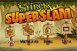 Title screen of Shrek SuperSlam on the Nintendo Game Boy Advance.