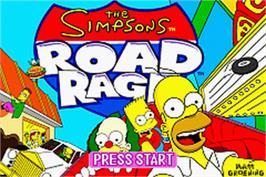 Title screen of Simpsons: Road Rage on the Nintendo Game Boy Advance.