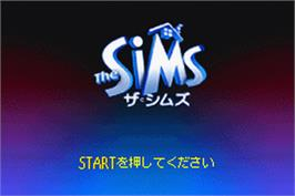 Title screen of Sims on the Nintendo Game Boy Advance.