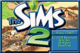 Title screen of Sims 2 on the Nintendo Game Boy Advance.