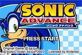 Title screen of Sonic Advance on the Nintendo Game Boy Advance.