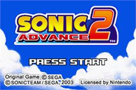 Title screen of Sonic Advance 2 on the Nintendo Game Boy Advance.
