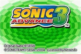Title screen of Sonic Advance 3 on the Nintendo Game Boy Advance.