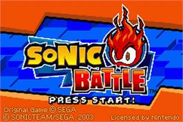 Title screen of Sonic Battle on the Nintendo Game Boy Advance.