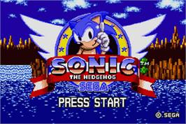 Title screen of Sonic The Hedgehog on the Nintendo Game Boy Advance.