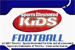Title screen of Sports Illustrated for Kids: Football on the Nintendo Game Boy Advance.