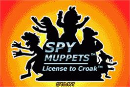 Title screen of Spy Muppets: License To Croak on the Nintendo Game Boy Advance.