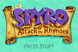 Title screen of Spyro: Attack of the Rhynocs on the Nintendo Game Boy Advance.