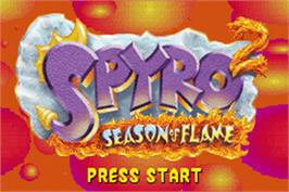 Title screen of Spyro 2: Season of Flame on the Nintendo Game Boy Advance.