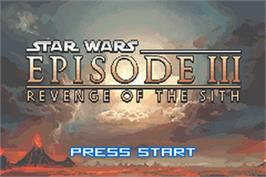 Title screen of Star Wars: Episode III - Revenge of the Sith on the Nintendo Game Boy Advance.