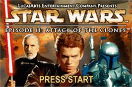 Title screen of Star Wars: Episode II - Attack of the Clones on the Nintendo Game Boy Advance.