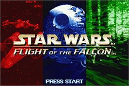 Title screen of Star Wars: Flight of the Falcon on the Nintendo Game Boy Advance.