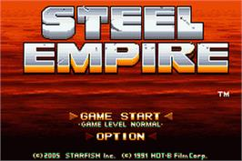 Title screen of Steel Empire on the Nintendo Game Boy Advance.