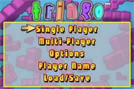 Title screen of Stinger on the Nintendo Game Boy Advance.