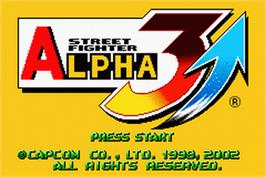 Title screen of Street Fighter Alpha 3 on the Nintendo Game Boy Advance.