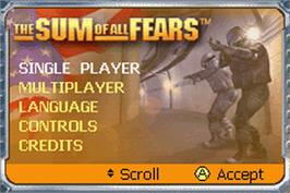 Title screen of Sum of All Fears on the Nintendo Game Boy Advance.