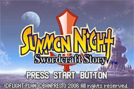 Title screen of Summon Night: Swordcraft Story on the Nintendo Game Boy Advance.