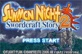 Title screen of Summon Night: Swordcraft Story 2 on the Nintendo Game Boy Advance.