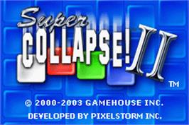 Title screen of Super Collapse! 2 on the Nintendo Game Boy Advance.