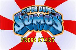Title screen of Super Duper Sumos on the Nintendo Game Boy Advance.