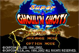 Title screen of Super Ghouls 'N Ghosts on the Nintendo Game Boy Advance.