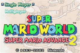Title screen of Super Mario World: Super Mario Advance 2 on the Nintendo Game Boy Advance.