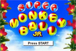 Title screen of Super Monkey Ball Jr. on the Nintendo Game Boy Advance.