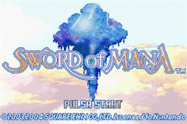 Title screen of Sword of Mana on the Nintendo Game Boy Advance.